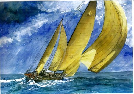 Aquarelles et dessins voiliers canots arbres cames et poils de martre - Dessins de voiliers ...